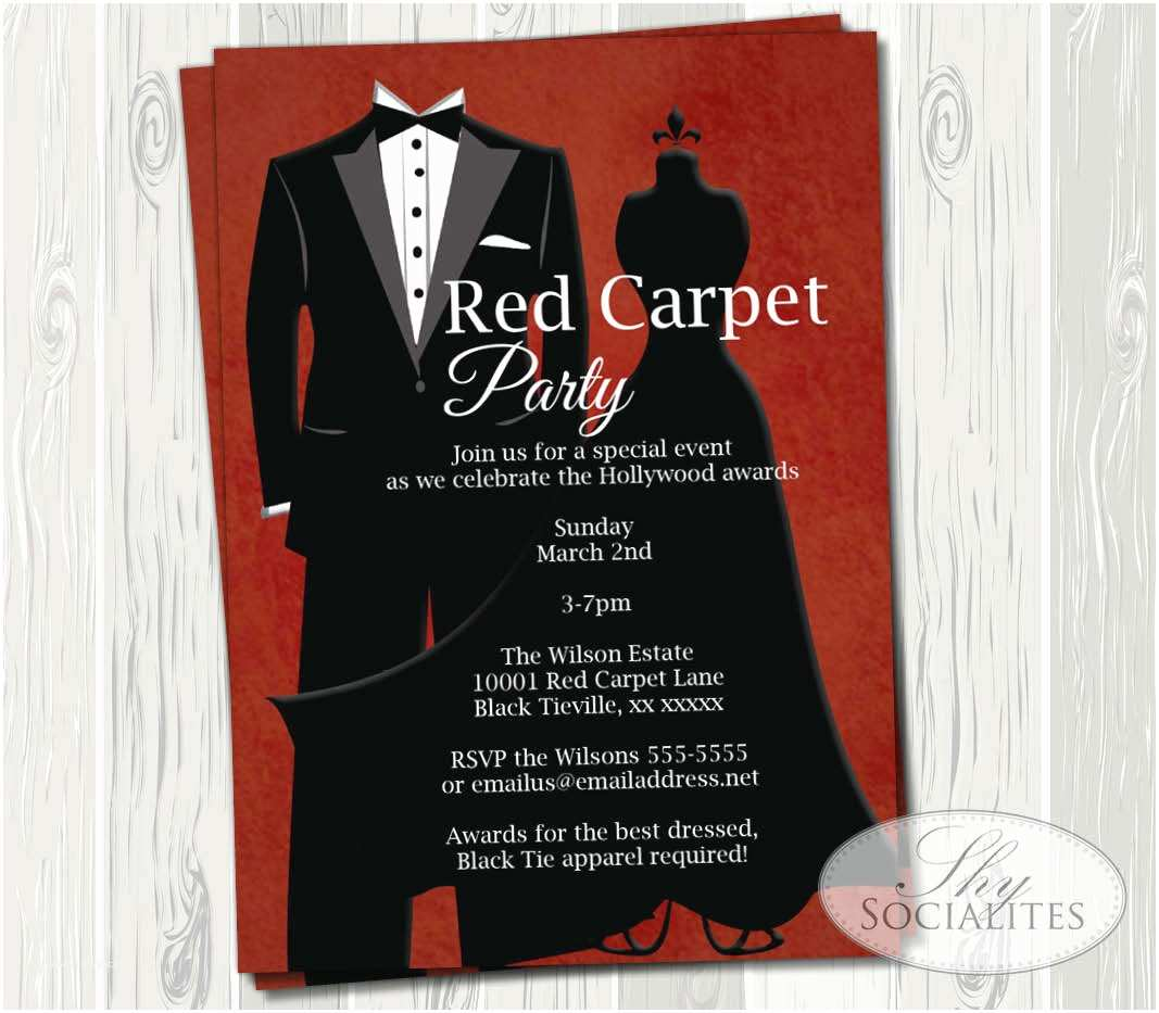 Formal Party Invitation Black Tie Invitation Red Carpet Party Hollywood Party Red