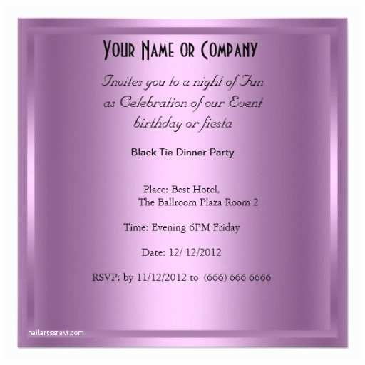 Formal Party Invitation formal Black Tie Birthday Party Invitation