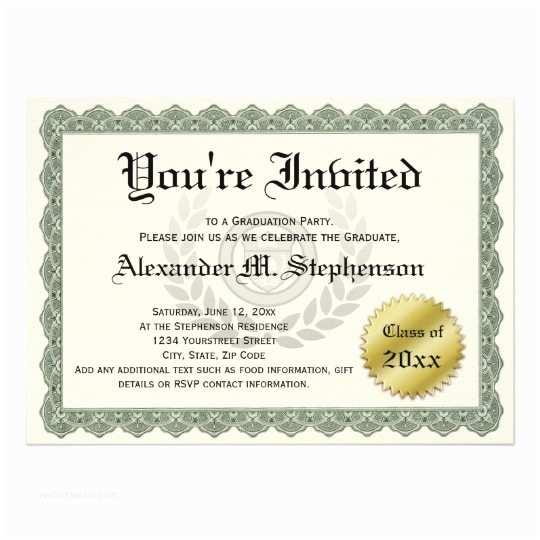 Formal Party Invitation formal Certificate Graduation Party Fun Invitation