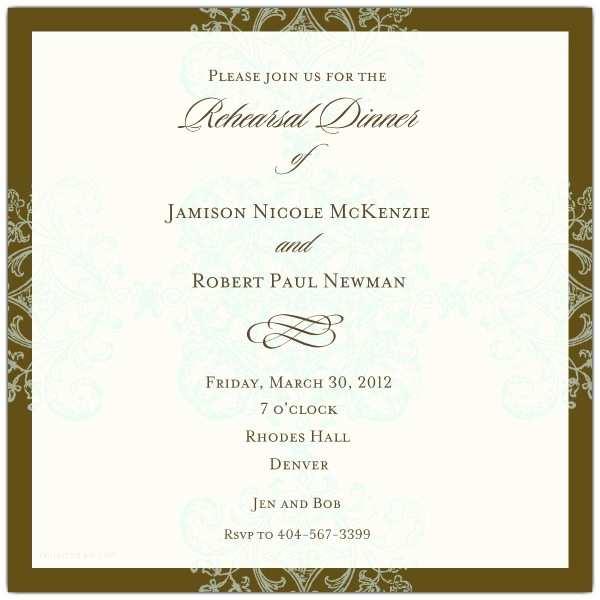 Formal Party Invitation formal Pattern Blue Square Rehearsal Dinner Invitations