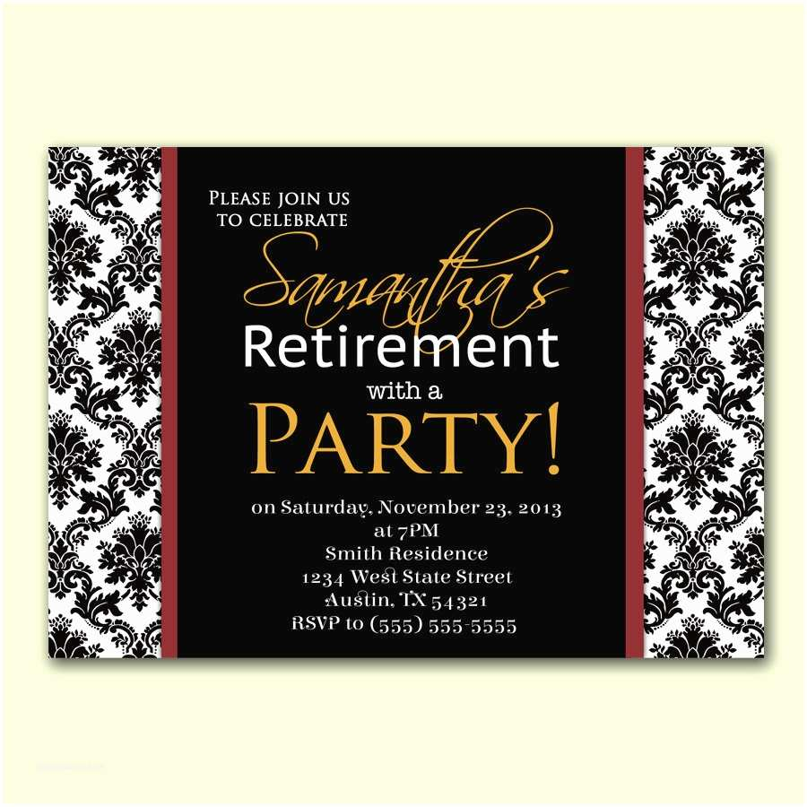 Formal Party Invitation Womans Retirement Party Invitation Damask formal by