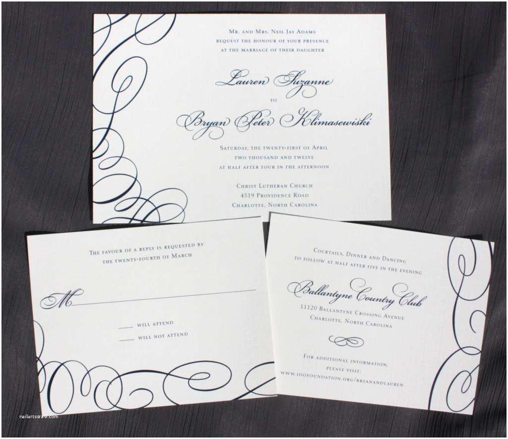 Formal Wedding Invitations formal Navy Blue asymmetric Swirl Wedding Invitations