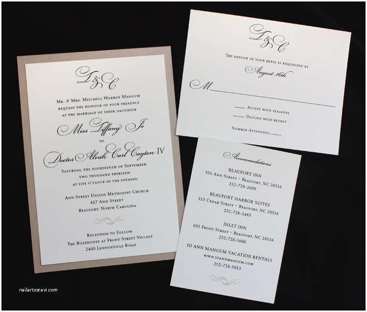 Formal Wedding Invitations formal Wedding Invitations Cream Monogram — C Bertha