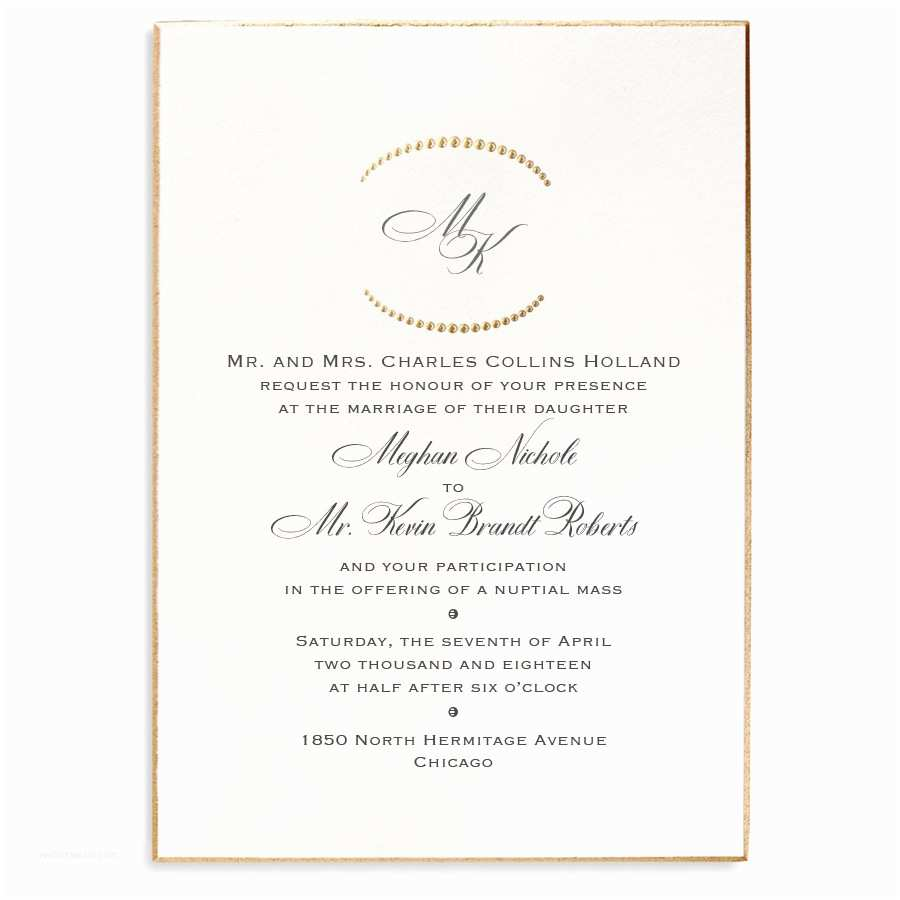 Formal Wedding Invitations Monogram Etiquette for Wedding Invitations