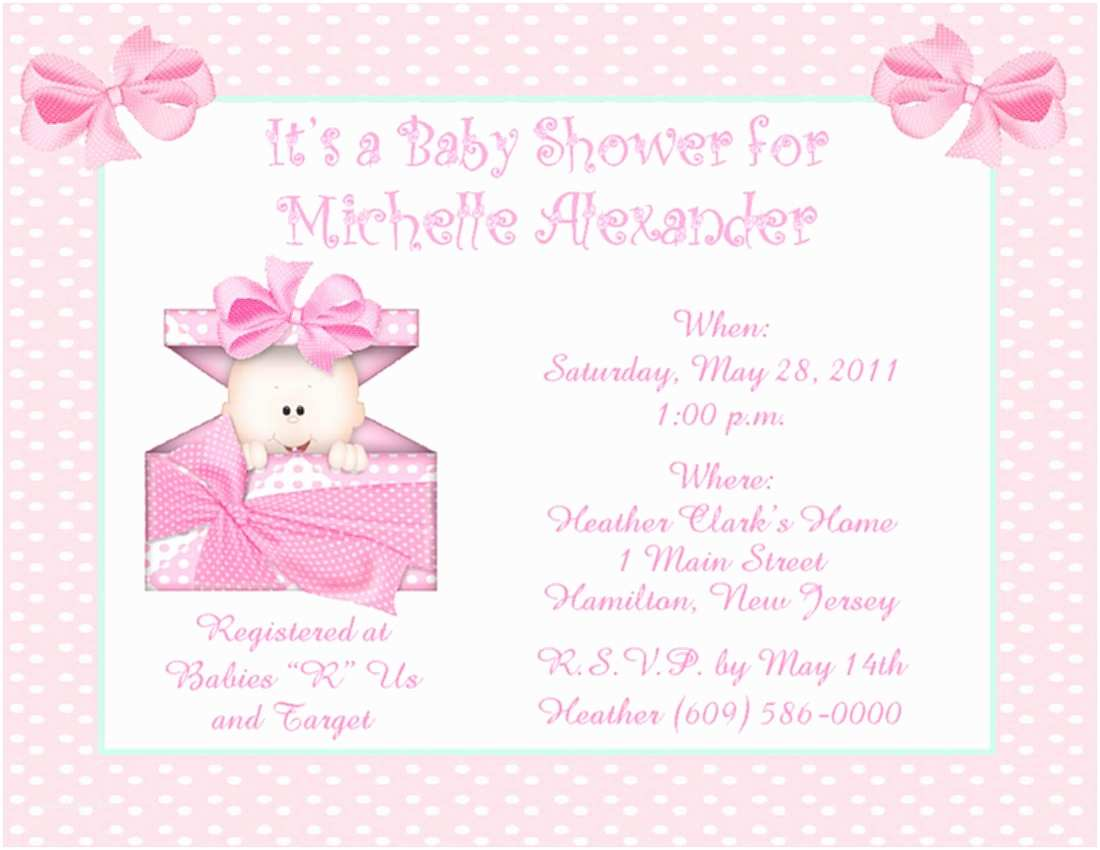 Free Baby Shower Invitations for Girls Baby Shower Invitations for Girls