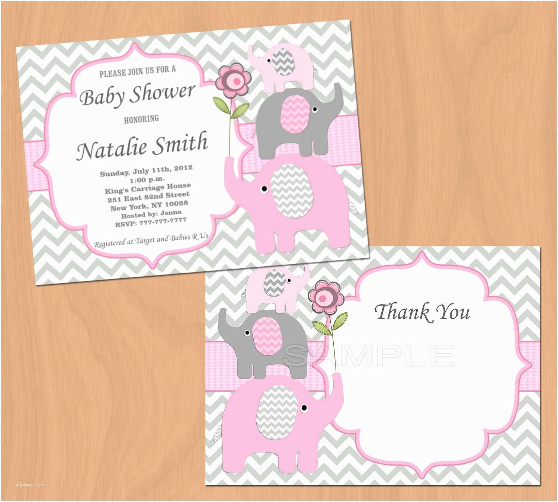 Free Baby Shower Invitations for Girls Girl Baby Shower Invitation Elephant Baby Shower Invitation