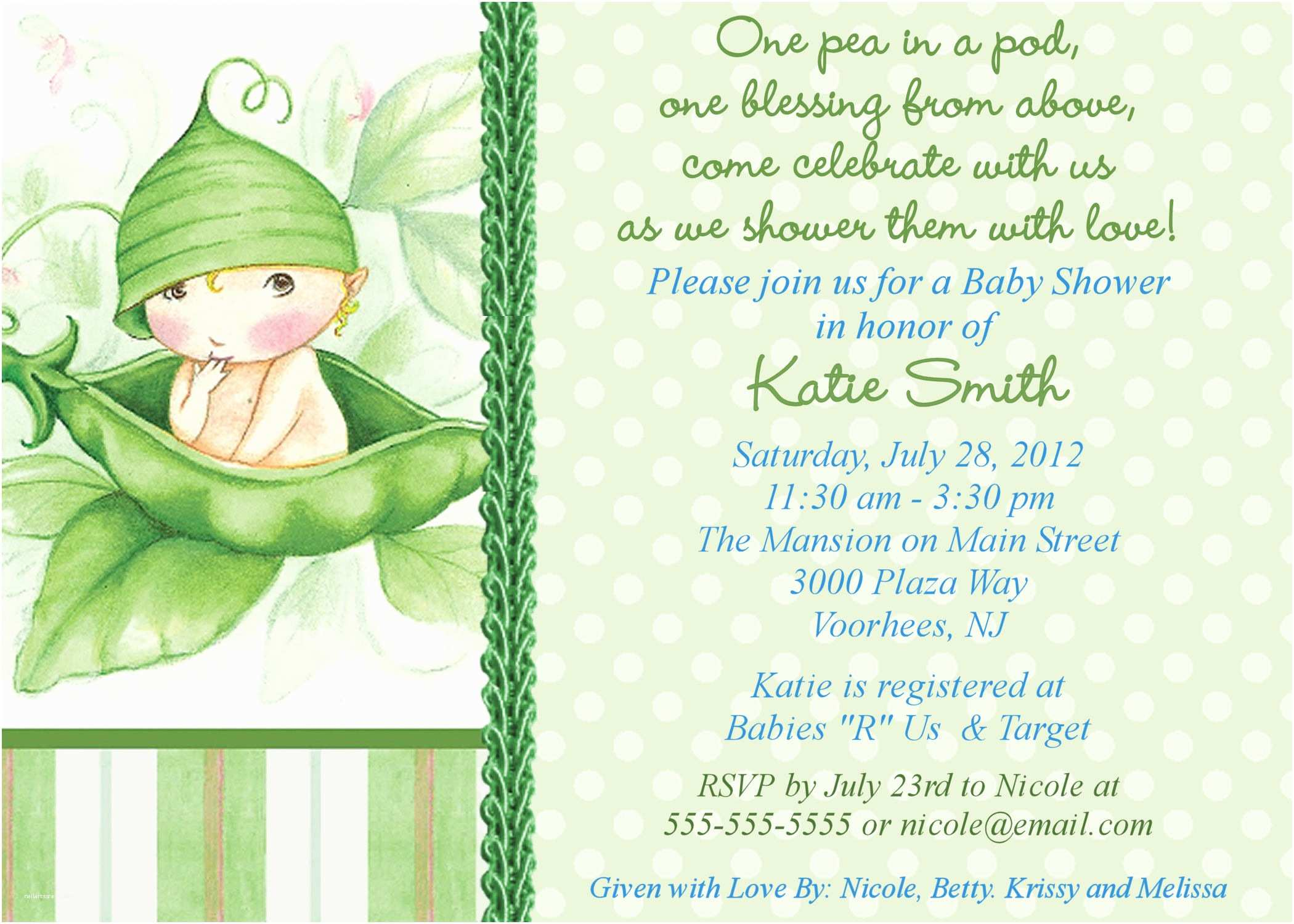 Free Baby Shower Invitations Templates Twin Baby Shower themes Ideas Pea In the Pod