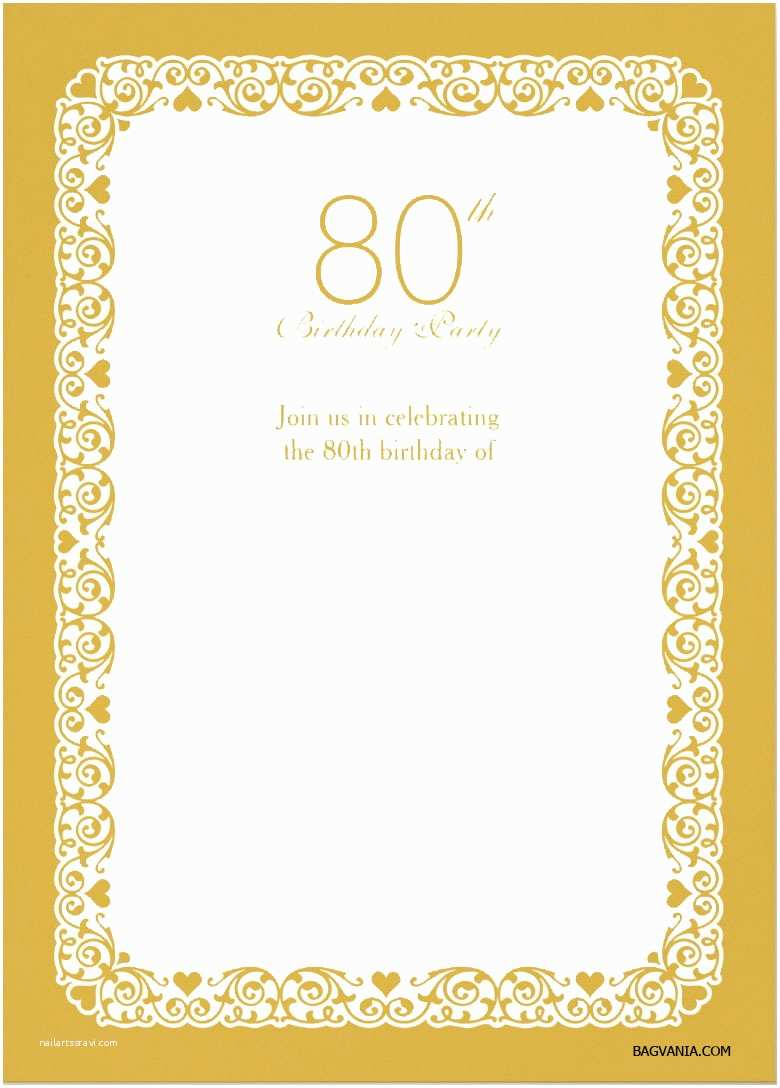 Free Birthday Invitation Templates Printable 80th Invitations Bagvania