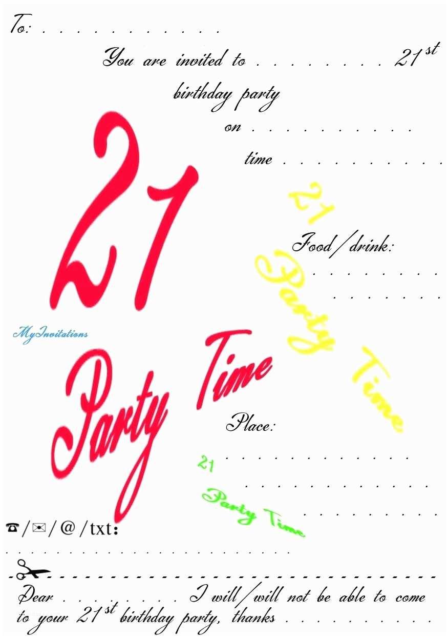 Free Birthday Party Invitation Templates 21st Birthday Invitation Template