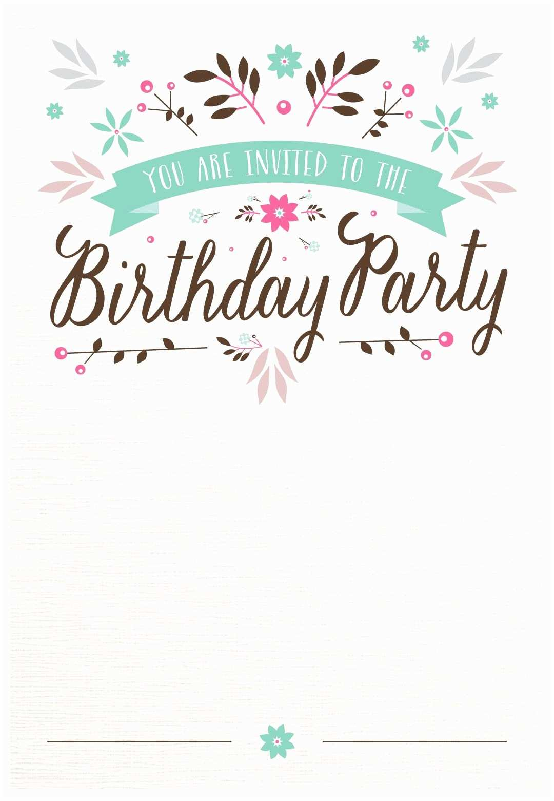Free Birthday Party Invitations Flat Floral Printable Invitation Template