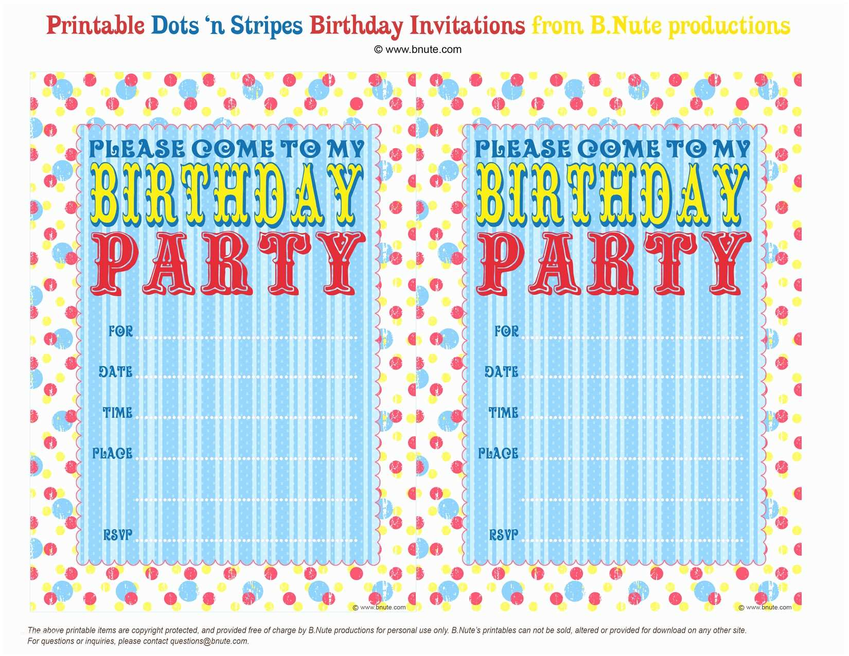 Free Birthday Party Invitations Free Printable Birthday Party Invitations