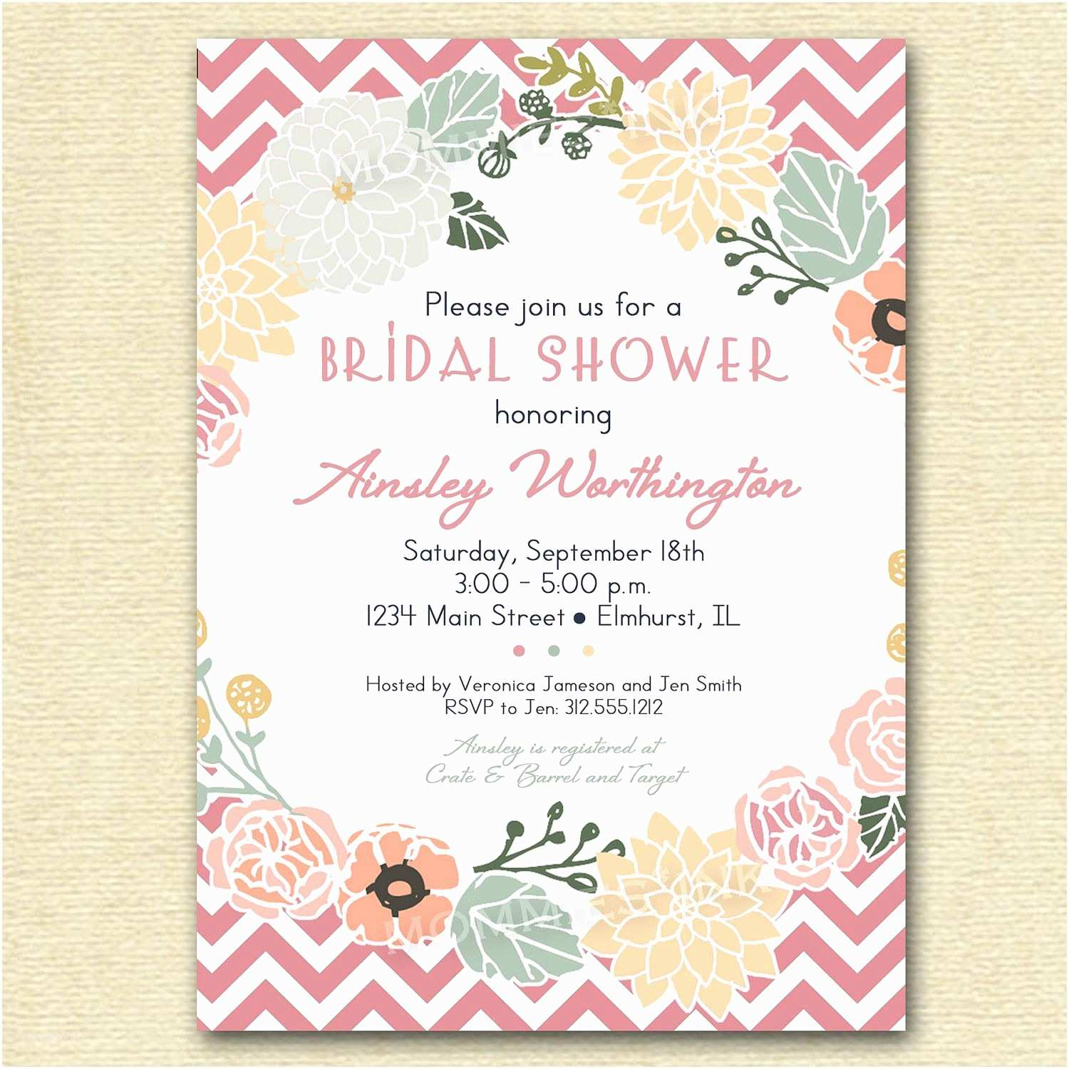 Free Bridal Shower Invitation Templates Vintage Flower Wreath and Pink Chevron Bridal Shower