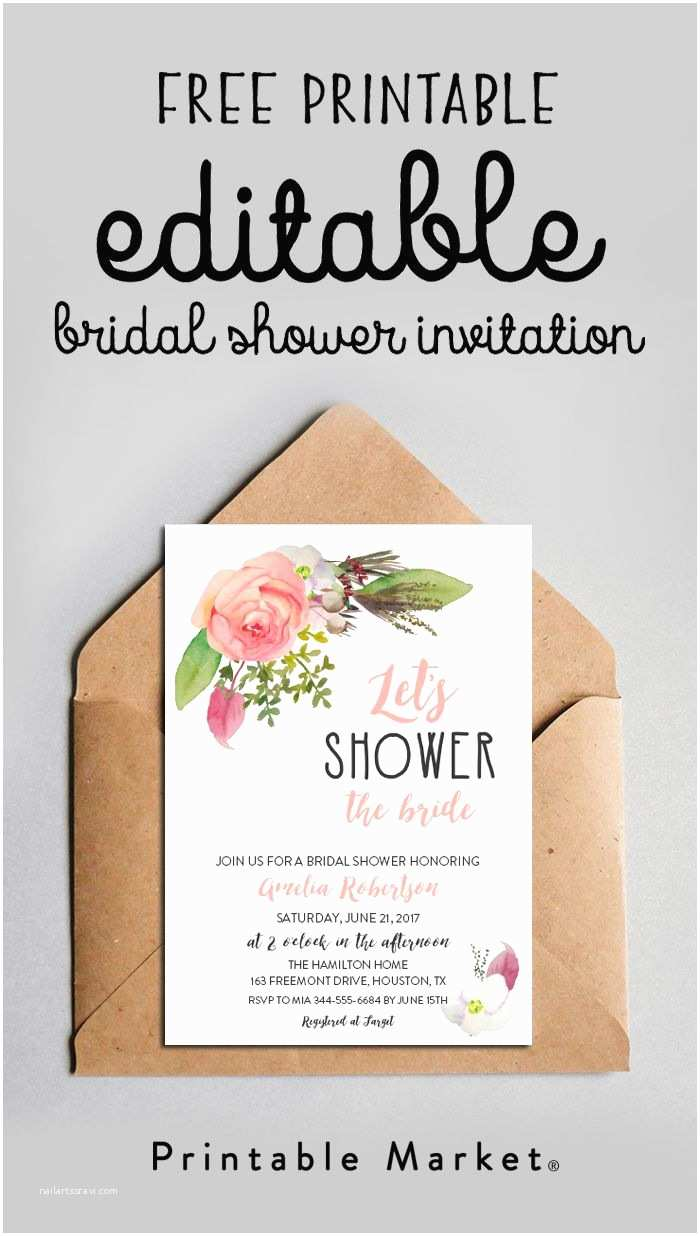 Free Bridal Shower Invitations Free Editable Bridal Shower Invitation Watercolor Flowers