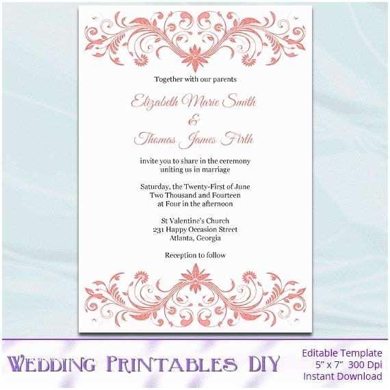 Free Editable Wedding Invitation Coral Wedding Invitation Template Diy Printable