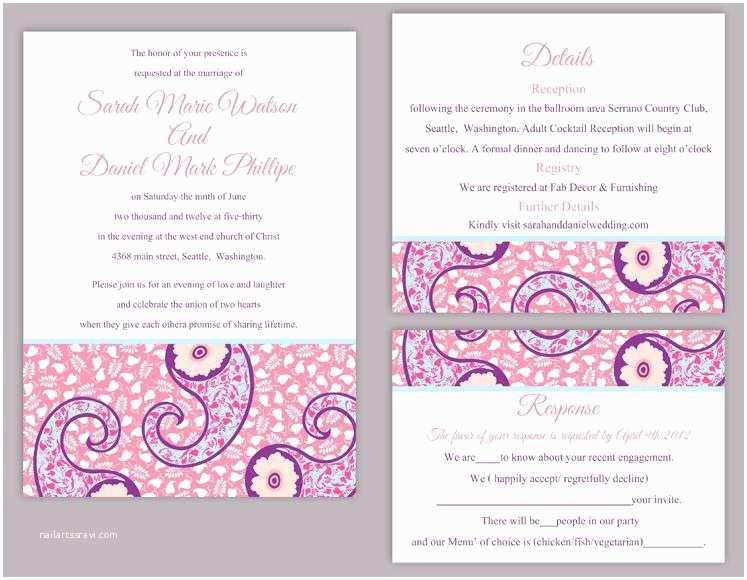Free Editable Wedding Invitation Diy Bollywood Wedding Invitation Template Set Editable