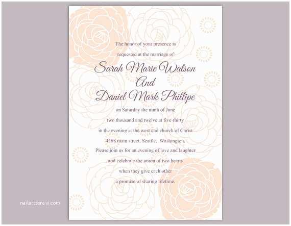 Free Editable Wedding Invitation Diy Wedding Invitation Template Editable Word File Instant