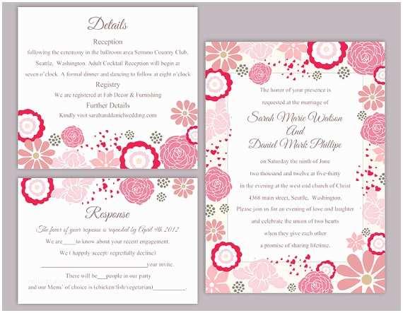 Free Editable Wedding Invitation Diy Wedding Invitation Template Set Editable Word