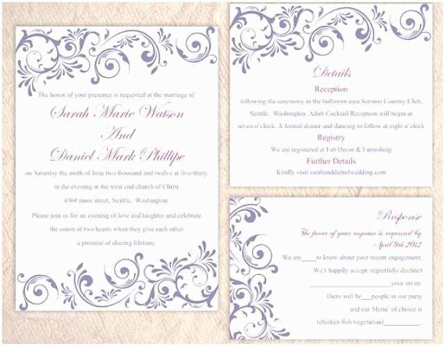 Free Editable Wedding Invitation Diy Wedding Invitation Template Set Editable Word File