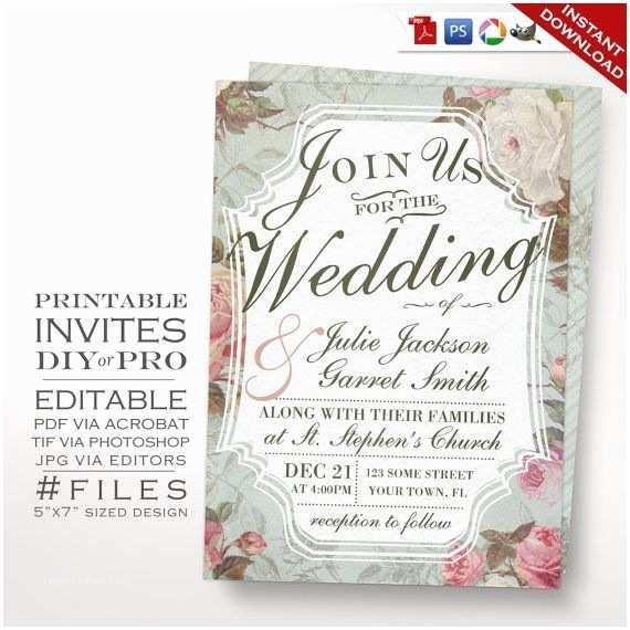 Free Editable Wedding Invitation French Country Wedding Invitation Vintage Rose