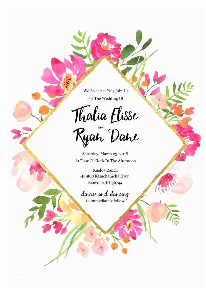 Free Editable Wedding  Print Gold Floral Free Editable Wedding