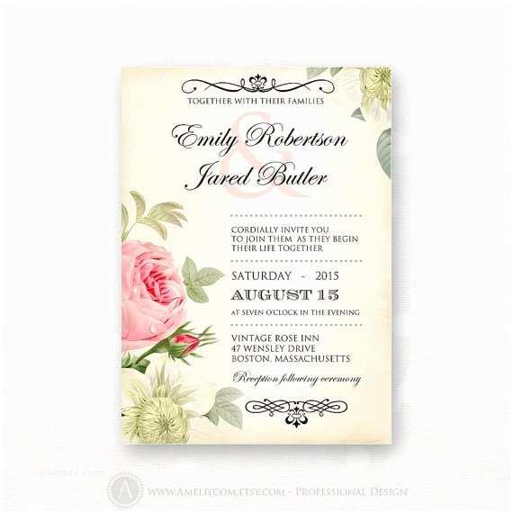 Free Editable Wedding Invitation Printable Wedding Invitation Pink Roses Vintage