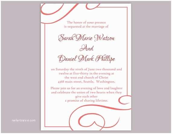 Free Editable Wedding Invitation Templates Diy Wedding Invitation Template Editable Text Word File