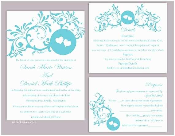 Free Editable Wedding Invitation Templates Diy Wedding Invitation Template Set Editable Word File