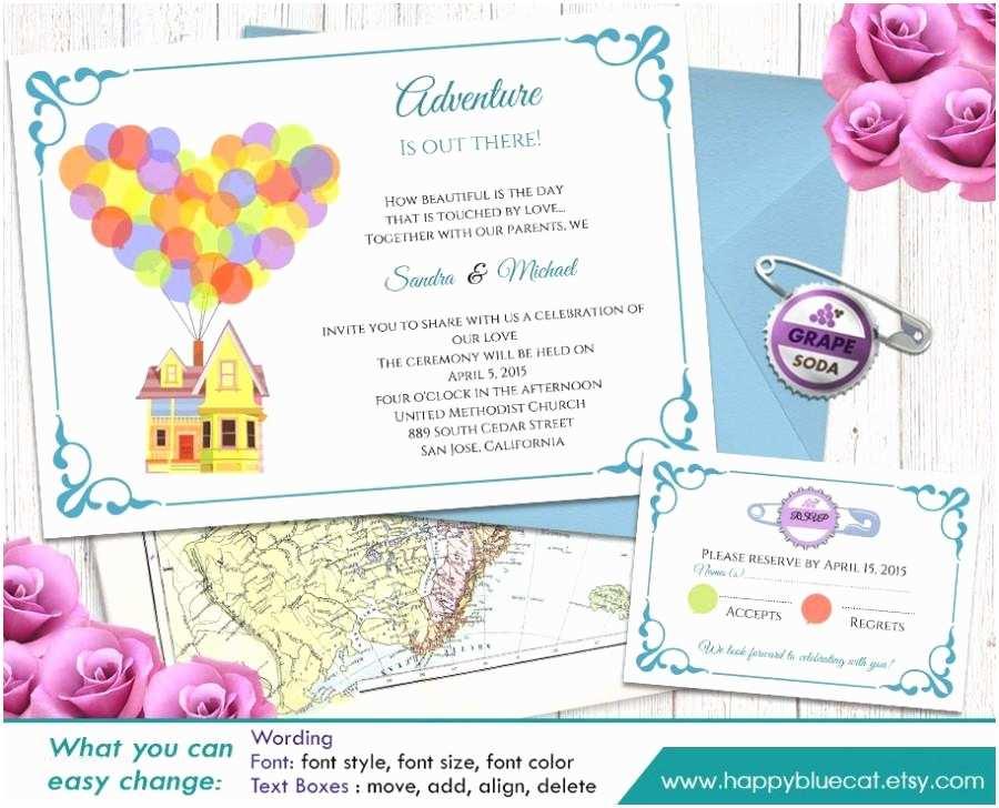 Free Editable Wedding Invitation Up Pixar Inspired Diy Printable Wedding Invitation and