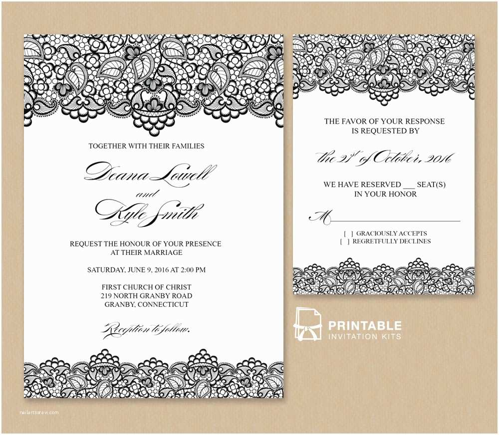 Free Email Wedding Invitation Templates Black Lace Vintage Wedding Invitation and Rsvp ← Wedding