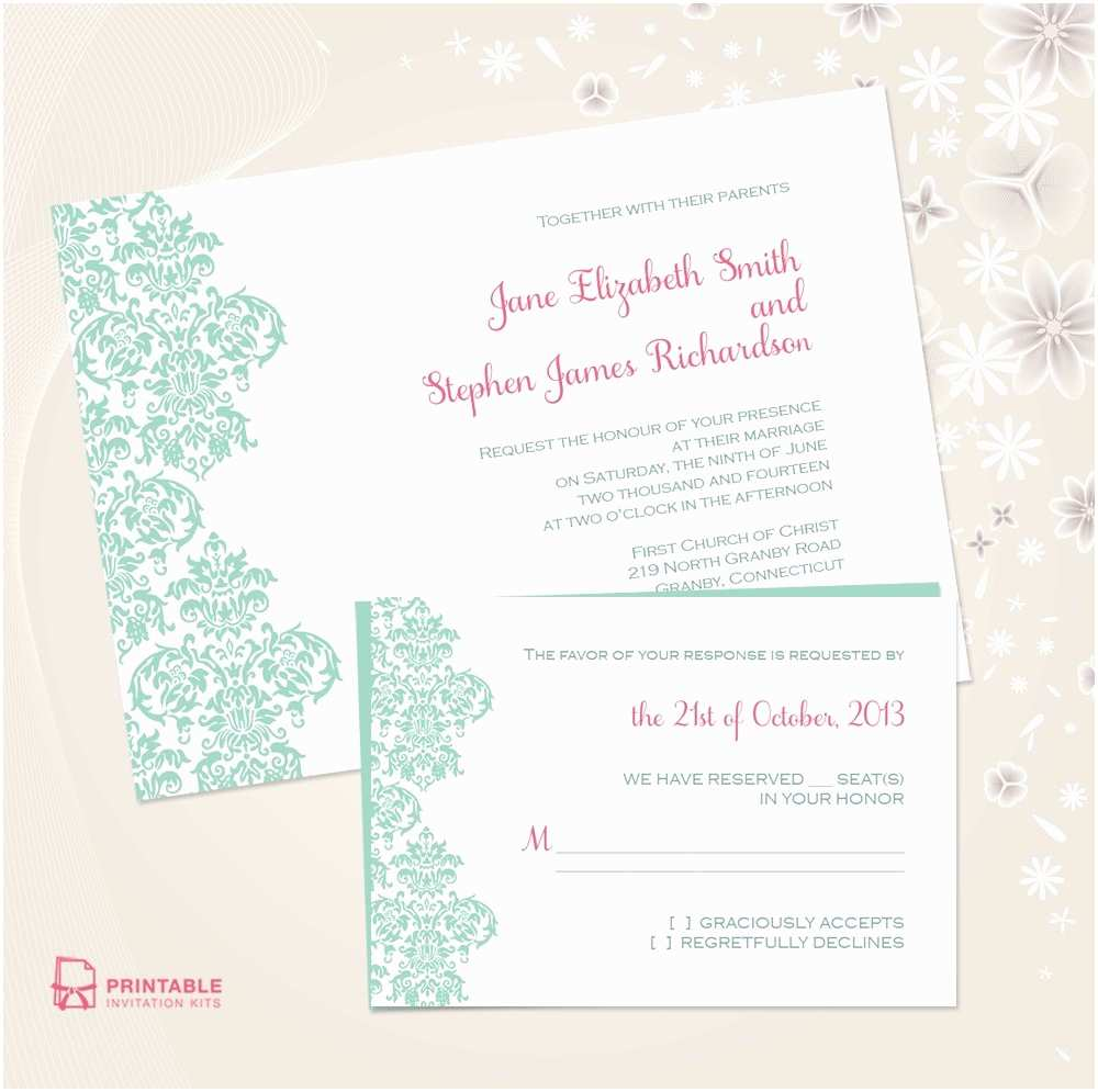 Free Online Wedding Invitations Damask Border Wedding Invitation