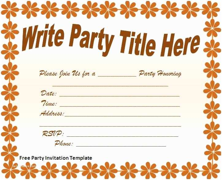 Free Party Invitation Template Free Party Invitations Template