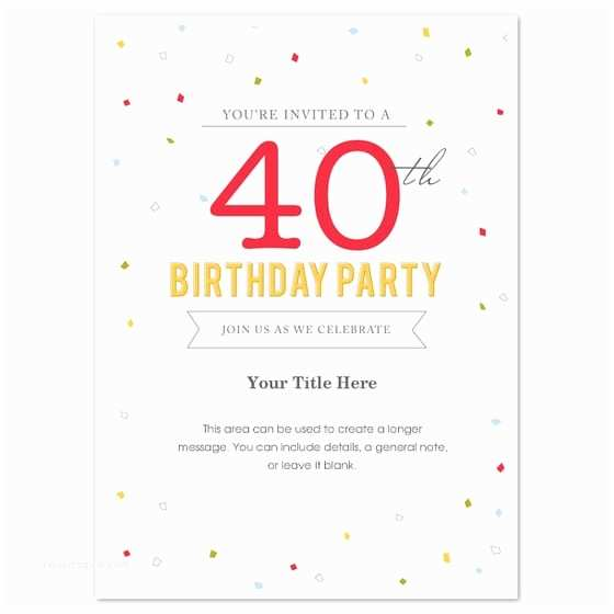Free Party Invitation Templates 40th Birthday Template