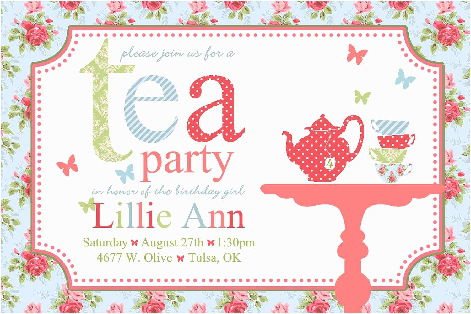 Free Party Invitation Templates Afternoon Tea
