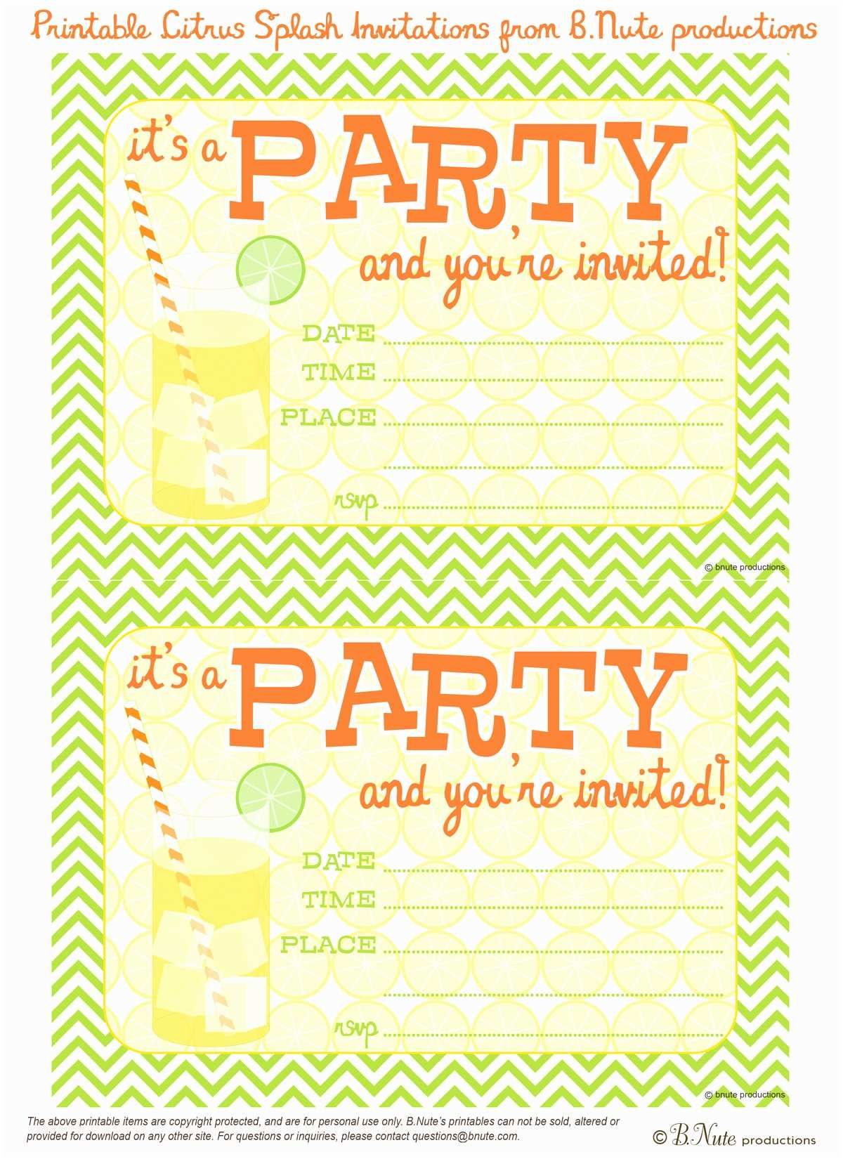 Free Party Invitations Bnute Productions Free Printable Citrus Splash Invitations