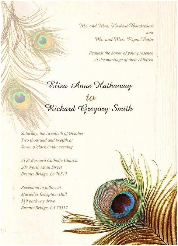 Free Peacock Wedding Invitation Templates 23 Peacock Wedding Invitation Templates – Free Sample