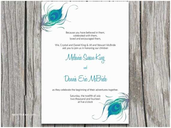 Free Peacock Wedding Invitation Templates Instant Download Peacock Wedding Invitation Microsoft Word