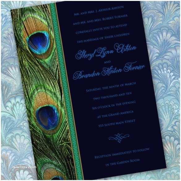 Free Peacock Wedding Invitation Templates Peacock themed Wedding Invitations Template