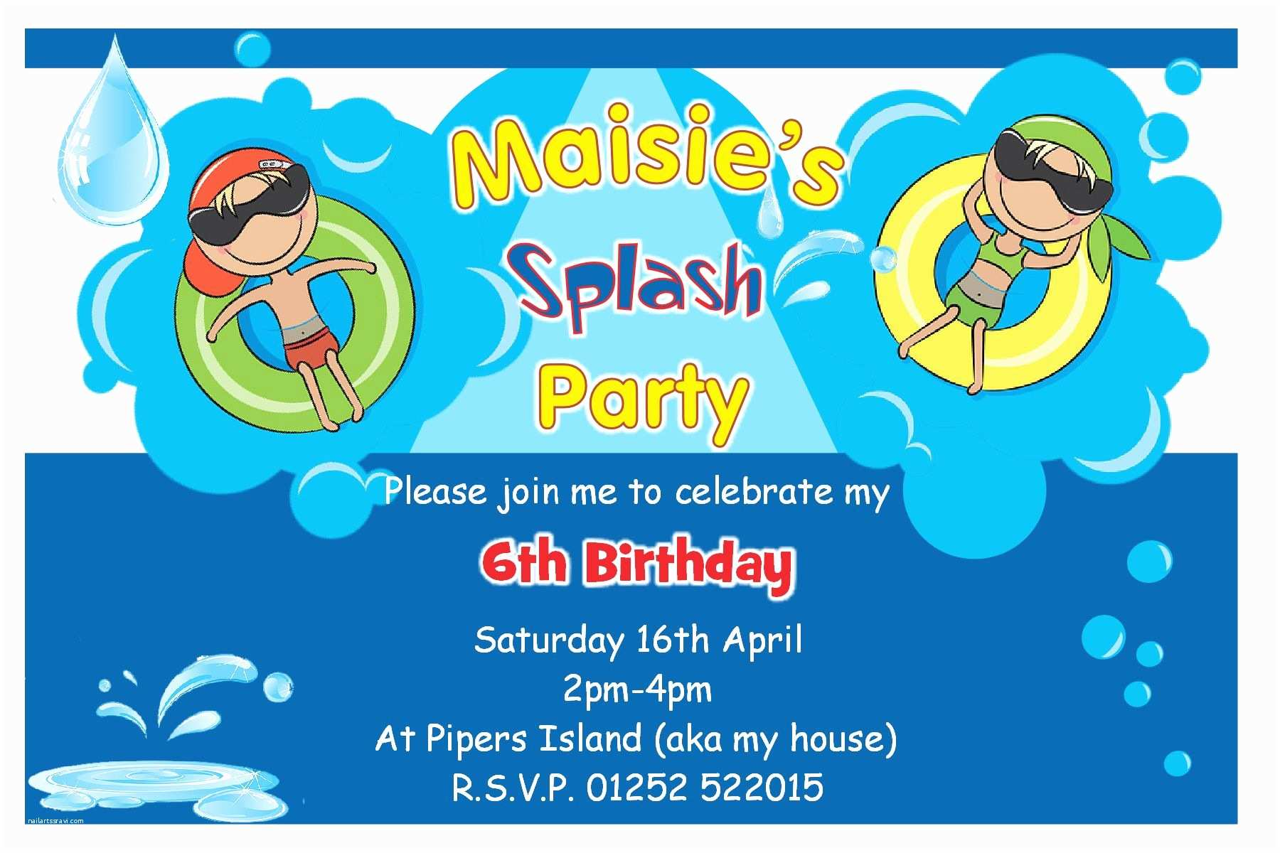 Free Pool Party Invitations Birthday Pool Party Invitations