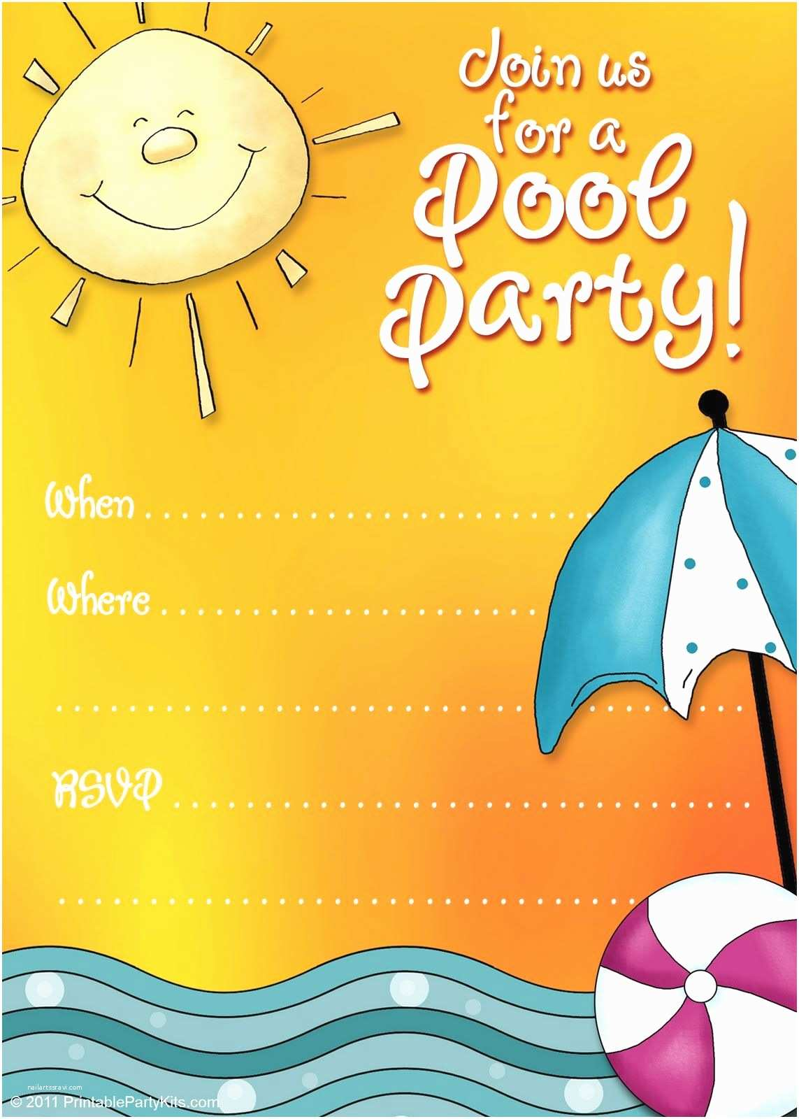 photograph regarding Printable Pool Party Invitations known as No cost Pool Occasion Invites No cost Printable Occasion Invites