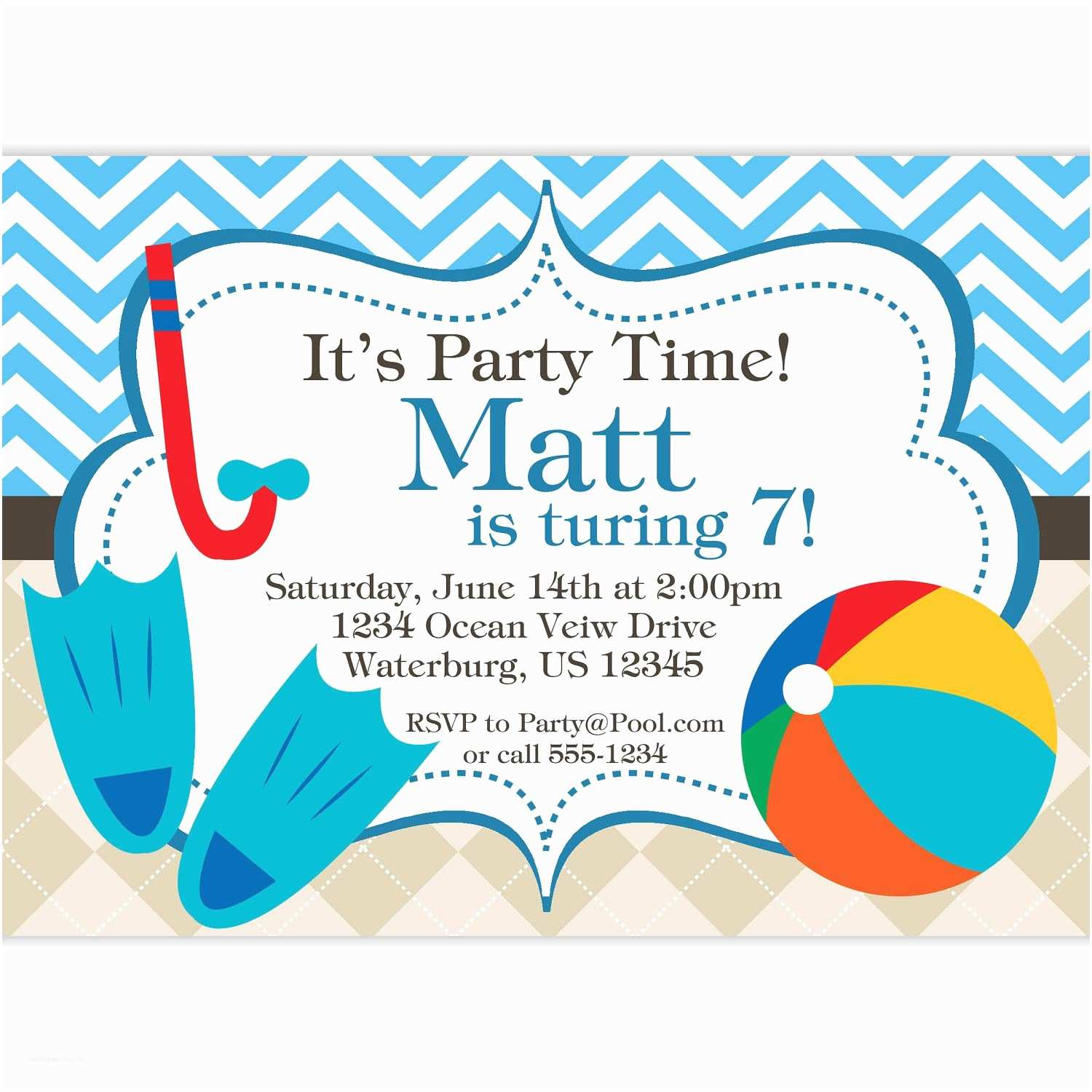 Free Pool Party Invitations Pool Party Invitation Blue Chevron and Tan Argyle Beach