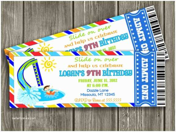 Free Pool Party Invitations Printable Pool Party Ticket Birthday Invitation Water