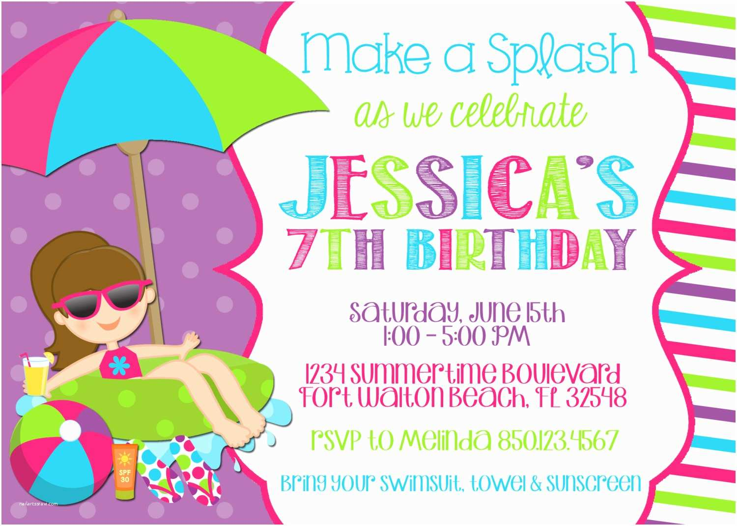 Free Pool Party Invitations Swimming 5x7 Invitation Girl Birthday Printable