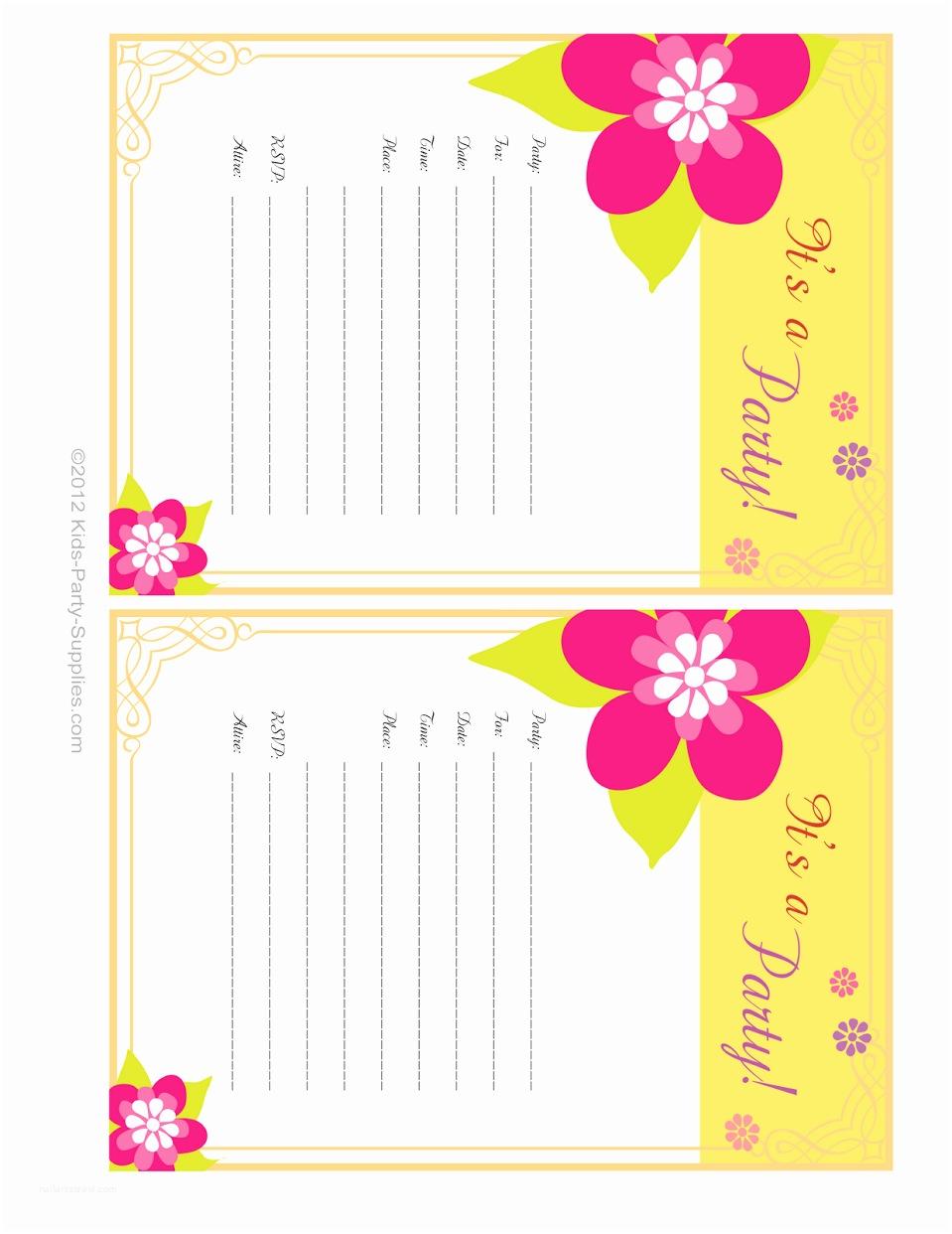 Free Printable Birthday Invitation Templates Hawaiian Party Invitations