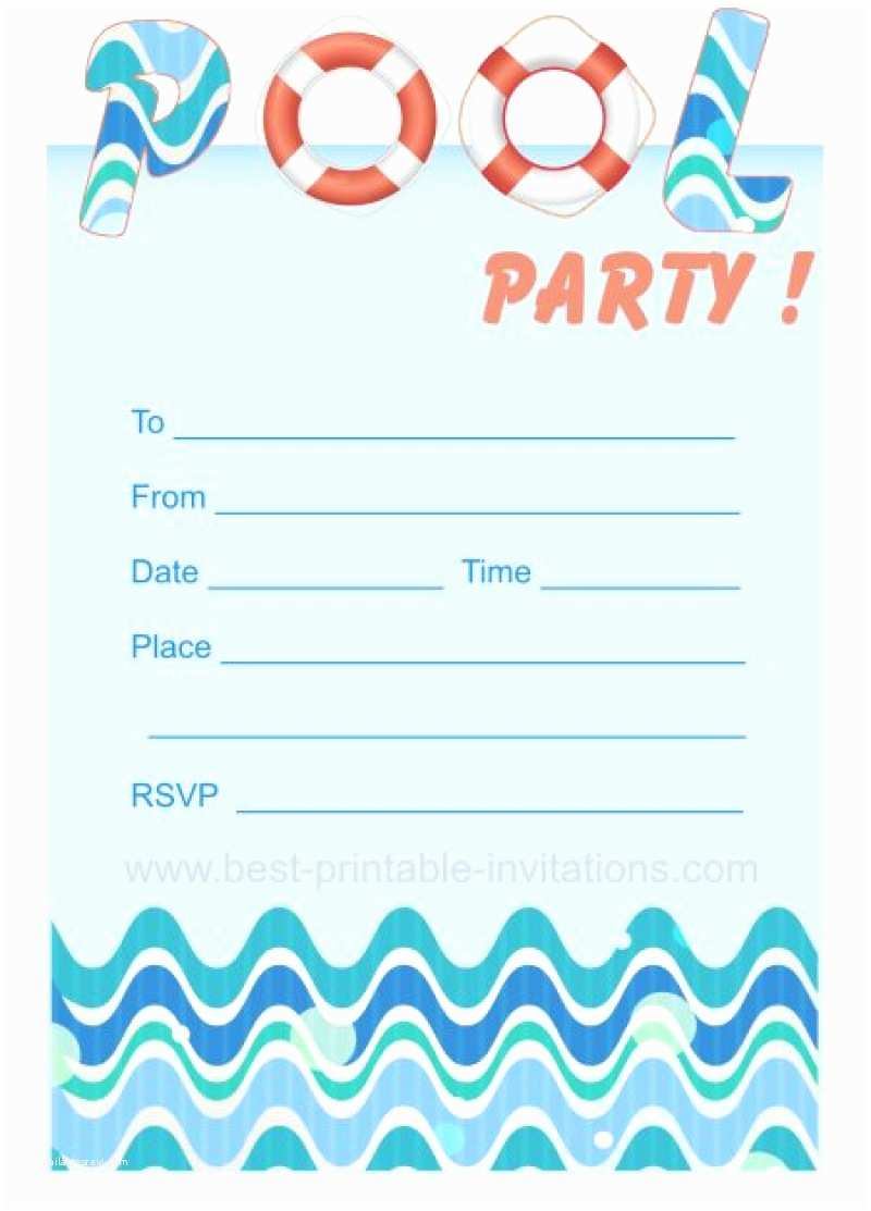 Free Printable Birthday Party Invitations Blank Pool Party Ticket Invitation Template