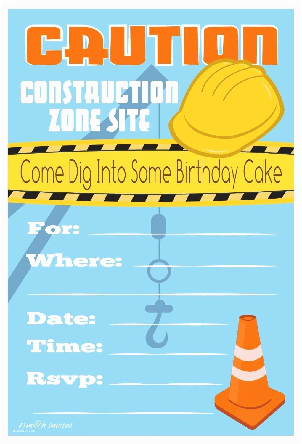 Free Printable Birthday Party Invitations Free Printable Construction Birthday Invitations