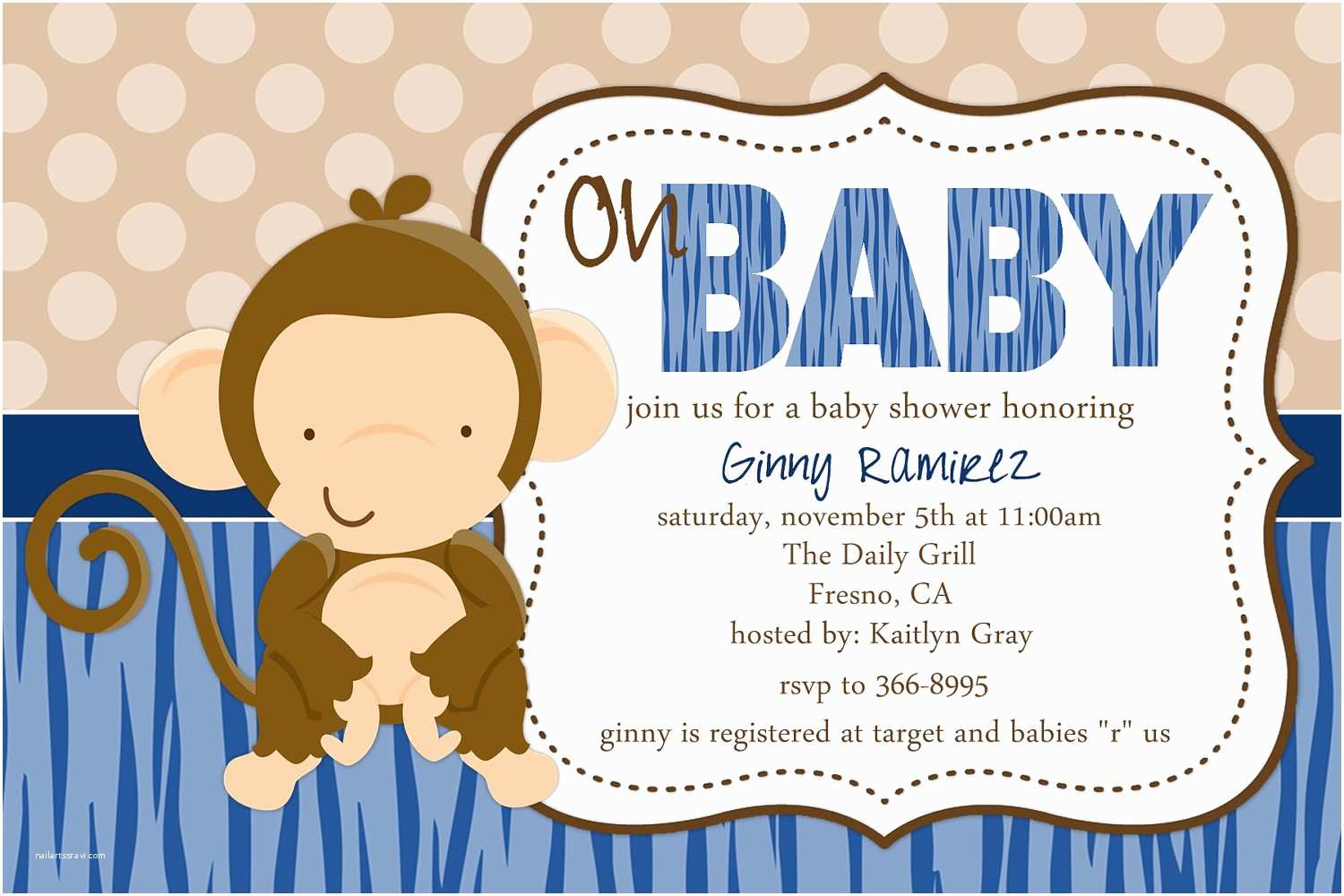 Free Printable Monkey Baby Shower Invitations Design Monkey Baby Shower Invitations Free Printable