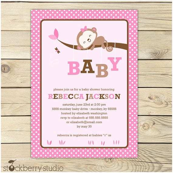Free Printable Monkey Baby Shower Invitations Free Printable Its A Girl Baby Shower Invitation