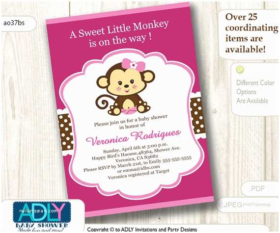 Free Printable Monkey Baby Shower Invitations Hot Pink Girl Monkey Baby Shower Invitation Printable Diy Card