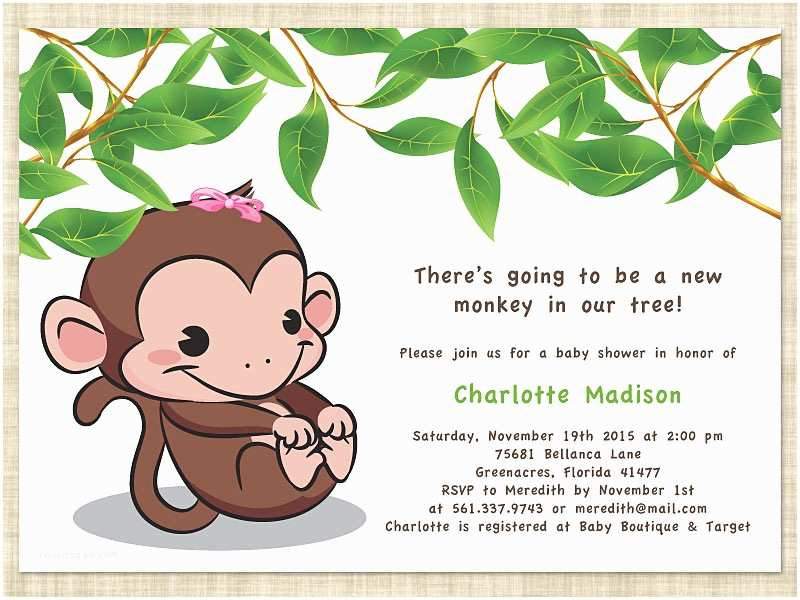 Free Printable Monkey Baby Shower Invitations Monkey Baby Shower Invitations Templates Free