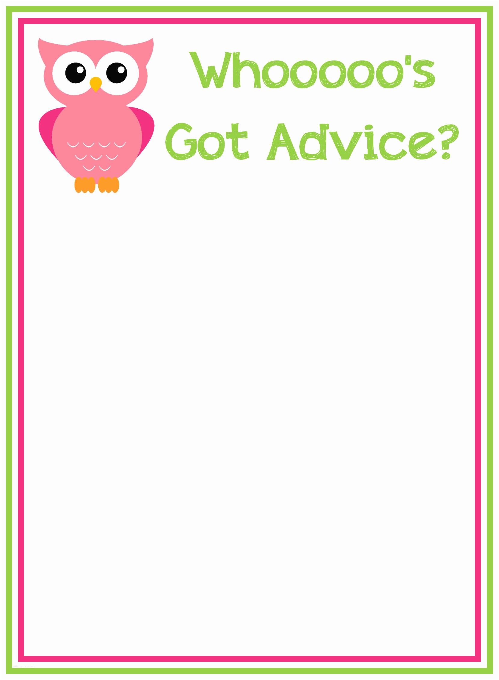 Free Printable Owl Baby Shower Invitations Baby Shower Advice Cards